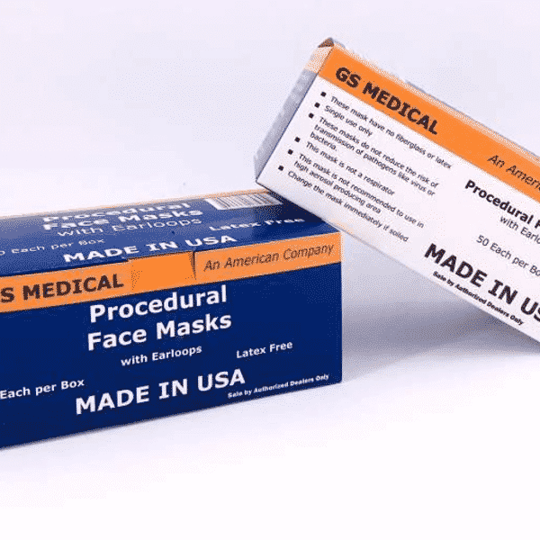 Disposable face mask, 3 layer, ear loops, made in USA | GS Medical