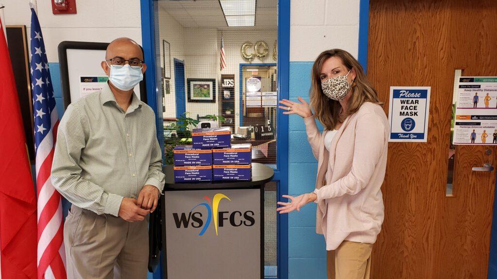 Disposable-face-mask-donation-Jefferson-elementry-school-winston-salem